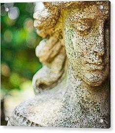 Memphis Elmwood Cemetery - Girl With Cross Square Acrylic Print by Jon Woodhams