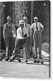 Men Playing Bocce Ball Acrylic Print by Underwood Archives