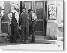Men Talking On Bank Steps Acrylic Print by Russell Lee