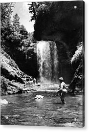 Men Trout Fishing Acrylic Print by Retro Images Archive