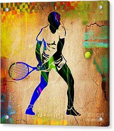 Mens Tennis Painting Acrylic Print by Marvin Blaine