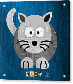 Meow The Cat License Plate Art Acrylic Print by Design Turnpike