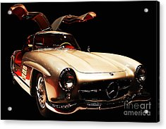 Mercedes 300sl Gullwing . Front Angle Black Bg Acrylic Print by Wingsdomain Art and Photography