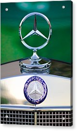 Mercedes Benz Hood Ornament 3 Acrylic Print by Jill Reger
