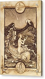 Mermaid And Dolphin From A Midsummer Nights Dream Acrylic Print by Arthur Rackham
