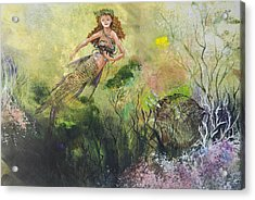 Mermaid And Friends Acrylic Print by Nancy Gorr