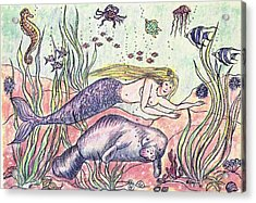 Mermaid And The Manatee Acrylic Print by N Taylor