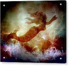 Mermaid In A Storm Acrylic Print by Irma BACKELANT GALLERIES