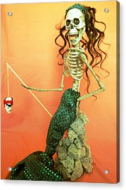 Mermaid On The Rocks Acrylic Print by Sandra Lewis