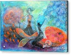 Mermaid World Acrylic Print by Vandana Devendra