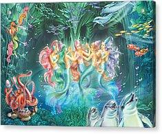 Mermaids Danicing Acrylic Print by Zorina Baldescu