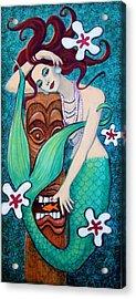 Mermaid's Tiki God Acrylic Print by Sue Halstenberg