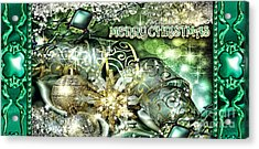Merry Christmas Green Acrylic Print by Mo T
