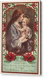 Merry Christmas Virgin And Child Acrylic Print by Olde Time  Mercantile