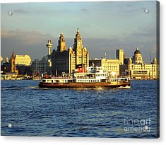 Mersey Ferry And Liverpool Waterfront Acrylic Print by Steve Kearns