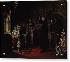 Metropolitan Philip Of Moscow 1507-90 With Tsar Ivan The Terrible 1530-84 Oil On Canvas Acrylic Print by Jakov Prokopyevich Turlygin