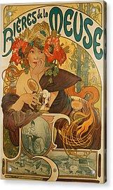 Meuse Beer Acrylic Print by Alphonse Marie Mucha
