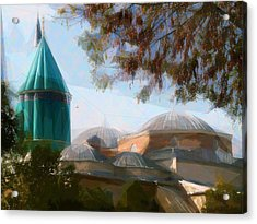 Mevlana Rumi Mosque In Konya Turkey Acrylic Print by Celestial Images
