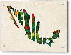 Mexico Typographic Watercolor Map Acrylic Print by Ayse Deniz