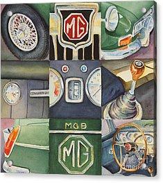 Mg Car Collage Acrylic Print by Karen Fleschler