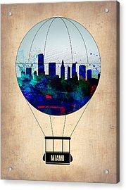 Miami Air Balloon Acrylic Print by Naxart Studio