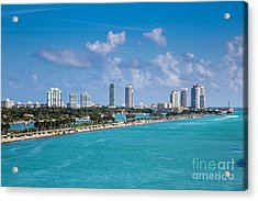 Miami Beach Skyline Acrylic Print by Rene Triay Photography
