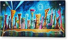 Miami City South Beach Original Painting Tropical Cityscape Art Miami Night Life By Madart Absolut X Acrylic Print by Megan Duncanson