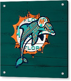 Miami Dolphins Football Team Retro Logo Florida License Plate Art Acrylic Print by Design Turnpike