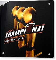 Miami Heat Aaa Championship Banner Acrylic Print by J Anthony