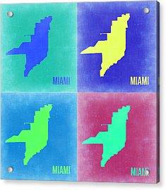 Miami Pop Art Map 2 Acrylic Print by Naxart Studio