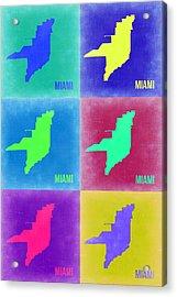 Miami Pop Art Map 3 Acrylic Print by Naxart Studio