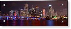 Miami Skyline At Night Panorama Color Acrylic Print by Jon Holiday