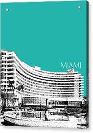 Miami Skyline Fontainebleau Hotel - Teal Acrylic Print by DB Artist