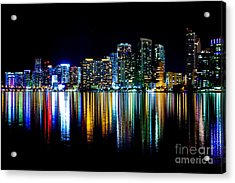 Miami Skyline High Res Acrylic Print by Rene Triay Photography