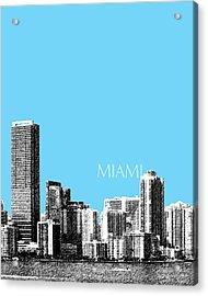 Miami Skyline - Sky Blue Acrylic Print by DB Artist