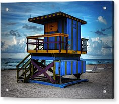 Miami - South Beach Lifeguard Stand 002 Acrylic Print by Lance Vaughn