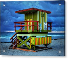 Miami - South Beach Lifeguard Stand 006 Acrylic Print by Lance Vaughn