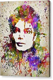Michael Jackson In Color Acrylic Print by Aged Pixel