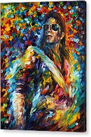 Michael Jackson - Palette Knife Oil Painting On Canvas By Leonid Afremov Acrylic Print by Leonid Afremov
