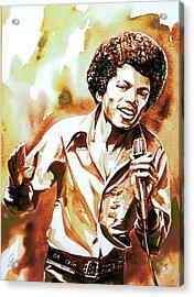 Michael Jackson - Watercolor Portrait.18 Acrylic Print by Fabrizio Cassetta