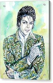 Michael Jackson - Watercolor Portrait.19 Acrylic Print by Fabrizio Cassetta