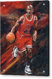 Michael Jordan Chicago Bulls Basketball Legend Acrylic Print by Christiaan Bekker