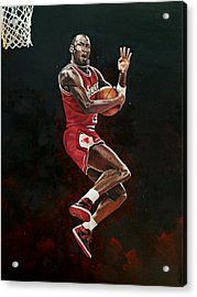 Michael Jordan Cradle Dunk Acrylic Print by Michael  Pattison