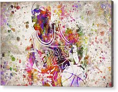 Michael Jordan In Color Acrylic Print by Aged Pixel