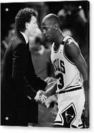 Michael Jordan Talks With Coach Acrylic Print by Retro Images Archive