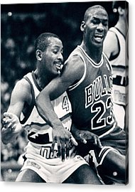 Michael Jordan Trying To Get Position Acrylic Print by Retro Images Archive