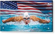 Michael Phelps Artwork Acrylic Print by Sheraz A