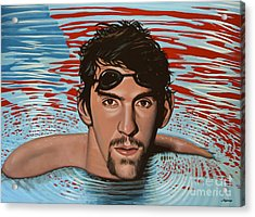 Michael Phelps Acrylic Print by Paul Meijering
