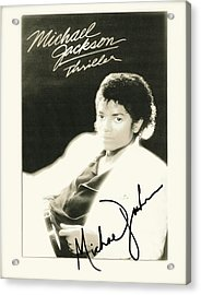 Micheal Jackson Signed Thriller Poster Acrylic Print by Desiderata Gallery
