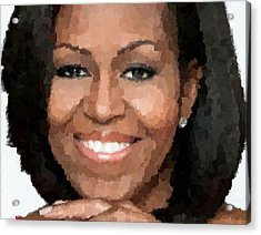Michelle Obama Acrylic Print by Samuel Majcen